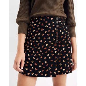 MADEWELL Side Button A Line Mini Skirt Black Multicolor Floral Print Sz 12